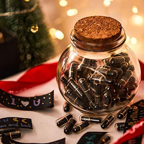 VEELU Capsule Letters Message in a Bottle Glass Favor Bottle (Black Love 100 PCS) - Unique Romantic...