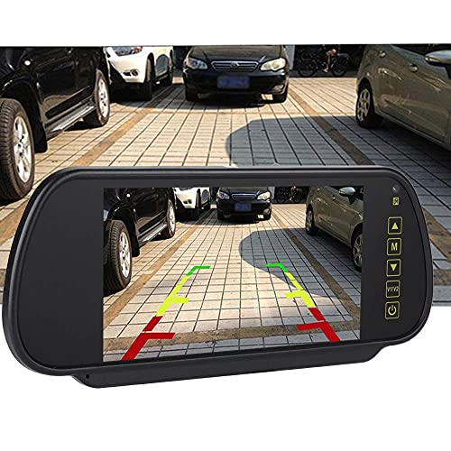 Lsaardth Specchietto retrovisore per Auto - 7 Pollici Specchietto retrovisore per Auto LCD Monitor Auto Oscurante Telecamera per retrovisione con Staffa