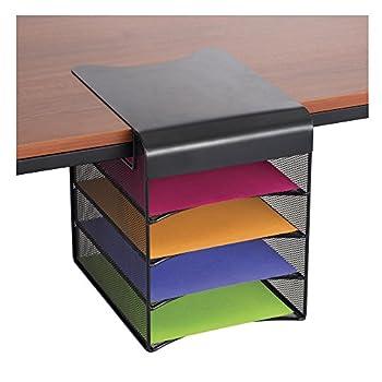 Safco Products Onyx Mesh 4-Tray Underdesk Hanging Organizer 3242BL Black Powder Coat Finish Durable Steel Mesh Construction