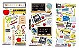School Scrapbook Stickers Assortment | Sticker Set with School Bus, Apple, School Supplies Theme | for Scrapbooking, Planner, Bullet Journals, Album, Calendars, DIY Crafts