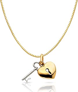 14K Two Tone Gold Key to Heart Keyhole Charm Pendant with 0.8mm Box Chain Necklace