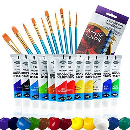 UGUI Acrylfarben Set,12x12ml Acrylfarben+10pcs Künstlerpinsel, Wasserfeste Acryl Farben für Leinwand, Ideal für Steine Holz und Papier, für Kinder Erwachsene Bastler und Profis