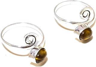 Shivi Brown Tiger Eye Coppia di Anelli Toe per Ragazze, Regolabile Tradizionale Stile Indiano Placcato in Argento Sterling...