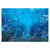 lovedomi 10x7ft Mundo Submarino tiburón Animal del Acuario bajo Fondo del mar Azul Fondo fotografía Cabina Estudio fotográfico Familiares Fiesta cumpleaños Estudio fotografía Material Vinilo