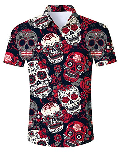 ALISISTER Mens Halloween Dress Shirt Womens Novelty Skull Button Down T Shirts Short Sleeve Cool Floral Diamond Costumes Adult Summer Vacation Holiday 2019 Scary Top Apparel Lightweight M