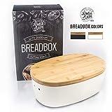 Dolce Mare Portapane in bambù - Cassetta per pane con coperchio in bambù - Portapane estremamente pratico - Cestino per il pane in legno - Contenitore per pane - Grande idea regalo (bianco)