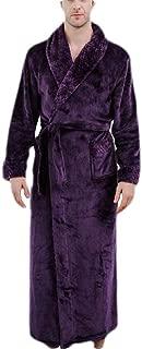 UUYUK Men Shawl Collar Flannel Winter Thick Loungewear Robe Purple US S