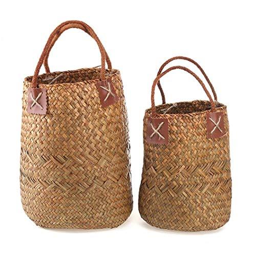 tJexePYK Conjunto de 2 Seagrass Cesta con nórdico Natural de Cesta Organizador Decorativo Cesta Tejida de de la decoración del hogar Tiesto
