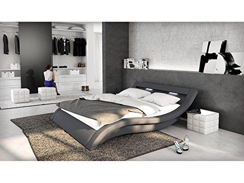 SalesFever Polster-Bett 140x200 cm grau aus Stoff mit LED-Beleuchtung   Loox   Das Stoff-Bett ist EIN Designer-Bett   Doppel-Betten 140 cm x 200 cm mit Lattenrost in Textil, Made in EU