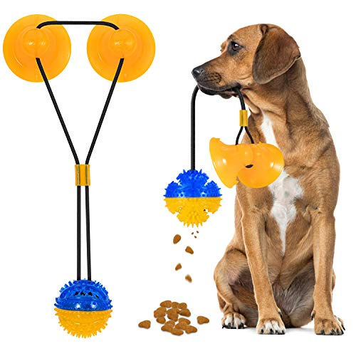 Suction Cup Dog Tug Toys - 2020 Upgraded Pet Molar Bite Toy with 2 Suction Cups, Puppy Rope Toys for Playing Tug of War-Interactive Dog Chew Toys for Pulling Tugging Chewing Teeth Cleaning Training