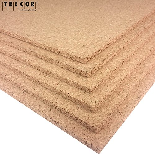 TRECOR Pinnwand Korkplatte Format: 1000 x 500 mm - Stärken: 2 - 20 mm - hochwertige Korkplatte - hochelastisch und antistatisch - Einseitig geschliffen für bessere Optik (1, 10 mm)