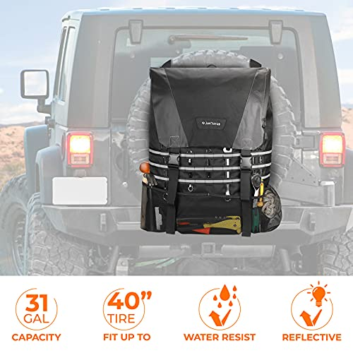 Spare Tire Trash Bag, JoyTutus Upgraded Fits 40' Tire 31 Gallons Overland Series Larger Capacity Cargo Spare Tire Storage Bag for 4x4 Off-Road Camping Recovery Gear Firewood for Wrangler JK JKU JL