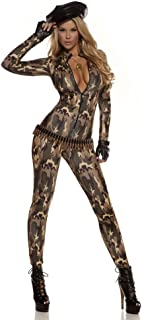 Forplay Women's Camo Print Zip Front Catsuit and Gloves