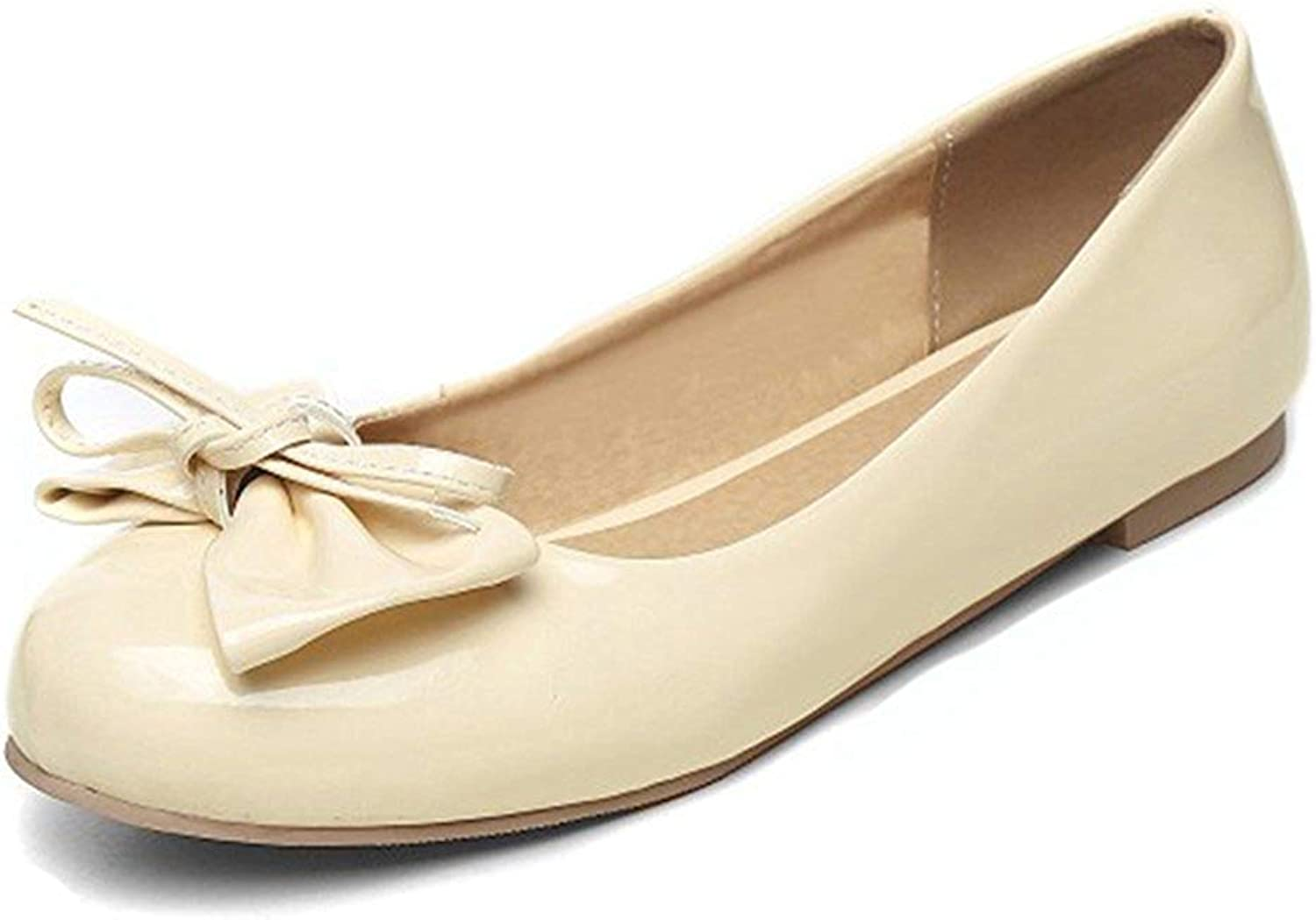 Unm Women's Cute Bowknot Low Cut Round Toe Wear to Work Slip On Flats Driving shoes