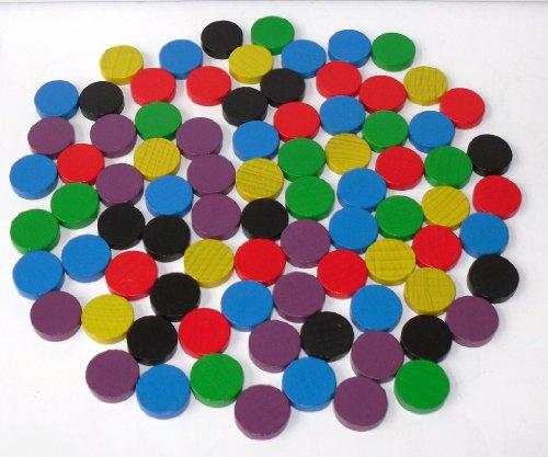 100 Spielchips , Roulette Spielmarken , Zählchips aus Holz , farblich gemischt 15mm x 4mm