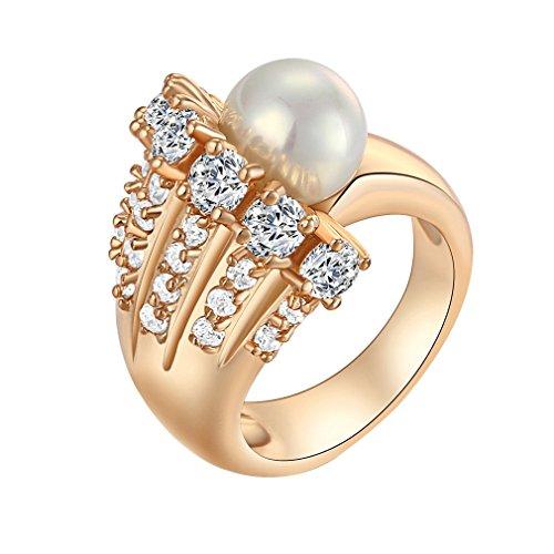 Yazilind 18K Elegante einzigartige Design Weißer Kristall mit einem Perlen Ring Gold überzogen Frauen Zirkonia 6