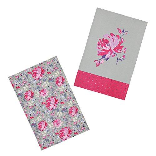 Kitchen Craft Fleur '100% Imprimé Floral torchons, 70 x 47 cm (Lot de 2), Coton, Rose/Gris, 46 x 0.1 x 69.5 cm