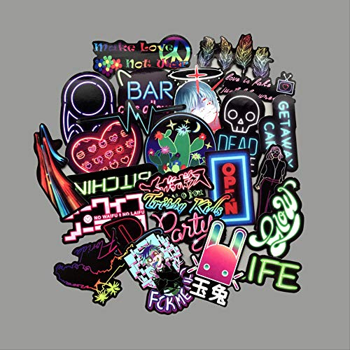 25pcs Neon Light Stickers for Snowboard Laptop Luggage Car Fridge Car- Styling Vinyl Decal Home Stickers