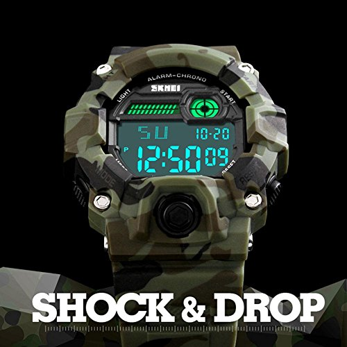 Boys Camouflage LED Sport Watch,Waterproof Digital Electronic Casual Military Wrist Kids Sports Watch With Silicone Band Luminous Alarm Stopwatch Watches