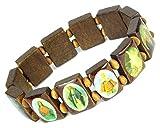 Lovely Lauri Holz Armband Heiligen Bilder Ikonen Damen Herren Gummizug Mittelbraun