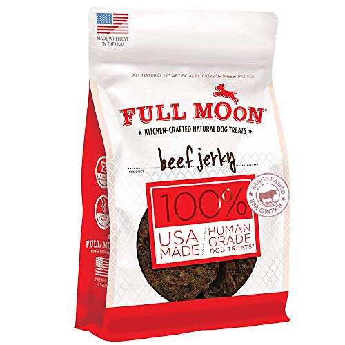Full Moon Beef Jerky Healthy All Natural Dog Treats Human Grade Made in USA Grain Free 11 oz