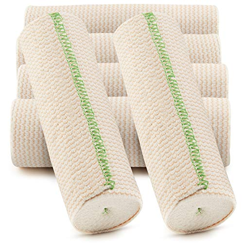 SPA SLENDER 6-inch x 15 ft Elastic Wrap - Compression Bandage with Hook and Loop Closure – Non-Latex Bandage Elastic Wrap for Injuries and Soreness – 6 pcs Washable Wide Elastic Bandage