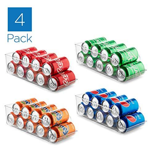 Set of 4 Refrigerator Organizer Bins Pop Soda Can Dispenser Beverage Holder for Fridge, Freezer, Kitchen, Countertops, Cabinets - Clear Plastic Canned Food Pantry Storage Rack