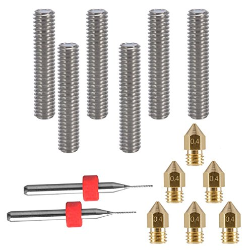 SODIAL 6pcs 30MM longitud 1.75MM Tubo de extrusion y cabeza de ...