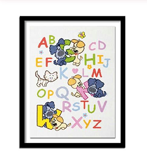 JHLP Bordado de diamantes para niños alfabeto 5d diy pintura de diamantes kit de diamantes de imitación cuadrados completos Diy Brats 40x30cm