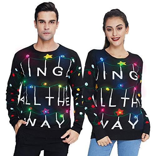 Freshhoodies Unisex Stelle Natale Maglione Maglia con LED Luci Divertente 2020 Nuovo Tema di Natale Sweater Jumpwer Cima L