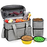 """Dog Travel Bag, Dog Luggage with 2 Collapsible Slow Feeder Bowls, 2 Food Storage Containers, Pet Supplies Tote Organizer for Large Dogs, Puppy ( 21L, 15 x 7 x 12"""" )"""