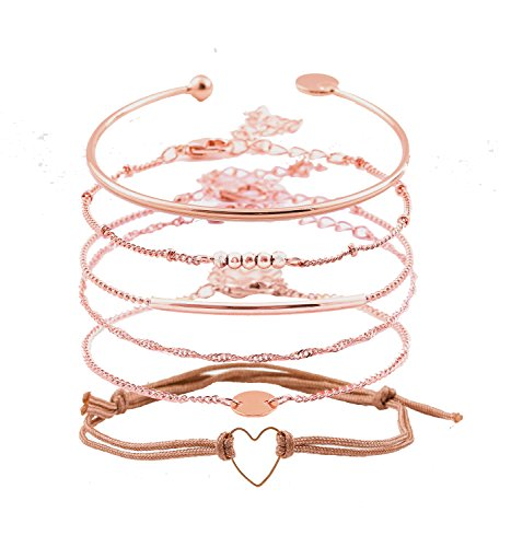 XOCARTIGE Layered Bracelet Set Assorted Beaded Bracelet Multiple Stackable Wrap Bangle Jewelry Adjustable (Rose Gold)