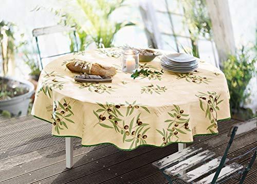 amelex 67 - Mantel redondo de aceites, lavable y antimanchas, tejido crema con motivos de olivos, borde verde claro, 100% poliéster