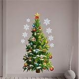 Fondo de la Pared del árbol de Navidad Verde de Bricolaje de Cristal Etiqueta de la Sala Compras de la Ventana Porche Mesa de Noche Decoración Wallpapers