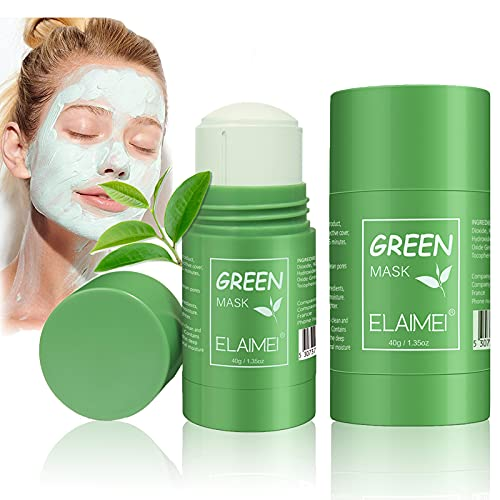 Green Tea Mask Purifying Clay Stick, 2 Pack, Face Moisturizing, Oil Control, Deep Clean Pore, Blackhead Remover Mask Stick for All Kind Skin Type Women Men