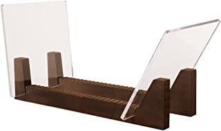 KAIU Vinyl Record Storage Holder - Stacks up to 50 Albums, 7 or 12 inch - Solid Wood Stand with Clear Acrylic Ends - Display Your Singles and LPs in This Modern Portable Rack Unit - Patent Pending