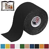 BB Sport 1 Rollo Cinta Kinesiología Tape 5 m x 5 cm Cinta Muscular E- Book Ejemplos Aplicación, Color:negro