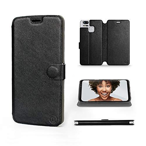 MOBIWEAR | Echt Lederhülle | Kompatibel mit Asus Zenfone Zoom S ZE553KL, Made in EU handyhülle, Slim Leather Hülle, Premium Flip Schutzhülle, Transparent TPU Silicon, Book Style, Tasche - Schwarzes Led