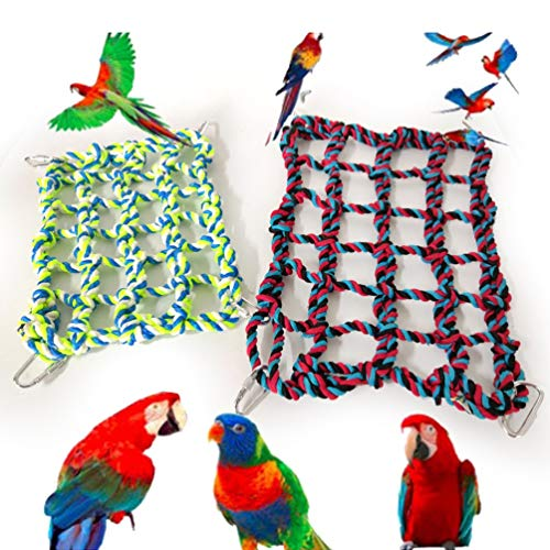 KONON Pet Toy Cotton Rope Net Rat Toy Ferret Macaw Parrot Swing Rope Net Cage Activity&Physical Stimulation-Pet Bed-Hamsters-Critter-Physical Stimulation,Bird Toy Pet Climbing Ladder,4 Hooks Included