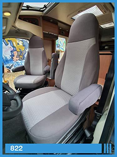 Maß Sitzbezüge kompatibel mit Wohnmobil Fahrer & Beifahrer Farbnummer: 822 (grau grau)