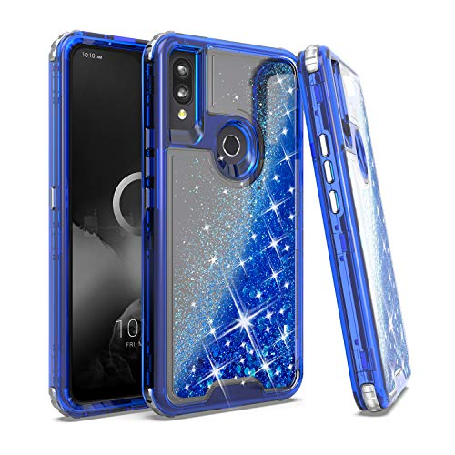EnCASEs Glitter Liquid Full Body Cell Phone Case for Alcatel 3V 2019, Quicksand Sparkle Heavy Duty Hybrid Case, Shockproof Bumper Case Cover, Navy Blue