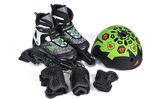 Rollerblade Kinder Cube, mit Protektoren und Helm, Jungen, Nero/Verde, 33-36