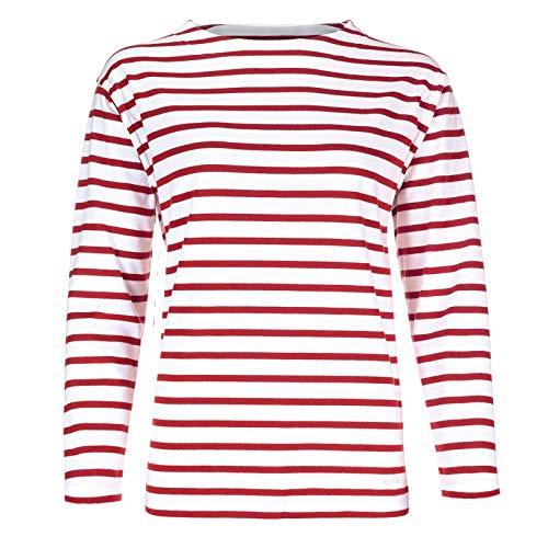modAS Bretonisches Damen Fischerhemd Langarm Streifen Hemd weiß/rot gestreift 2500D_03 Größe 40 (Damen) / 48 (Herren)