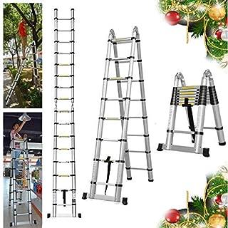 16.5FT Extension Telescopic A-Frame Ladder 16 Feet Multi-Purpose Aluminum Portable Ladder 330lb Loading EN131 Certified