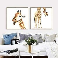 キャンバス絵画北欧漫画動物アートプリントキリンアートポスター壁の写真リビングルームベビールーム家の装飾-50x50cmx2フレームなし