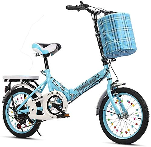 IMBM Bicycles Folding Outdoor Adult Bicycle Courier Bike 5~13 Years Old Displacement Bike 16 inch / 20 inch Exercise Bike Beautiful Bicycle (Color : Blue, Size : 20inches)