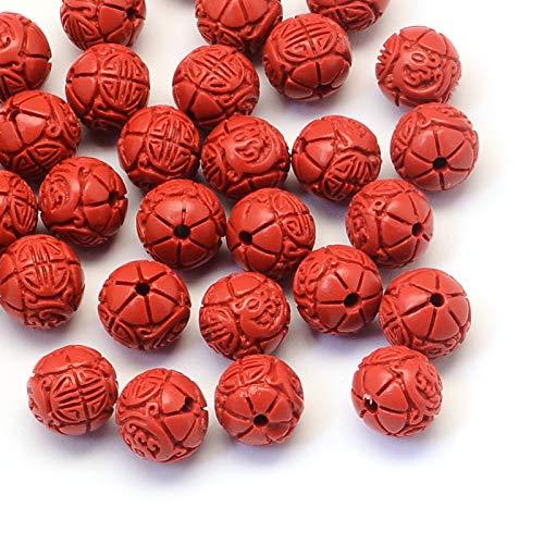 Beadthoven - 100 cuentas redondas rojas de cinnabar de 11 x 11 mm detalladas talladas de flores para hacer pulseras de Buda, Mala