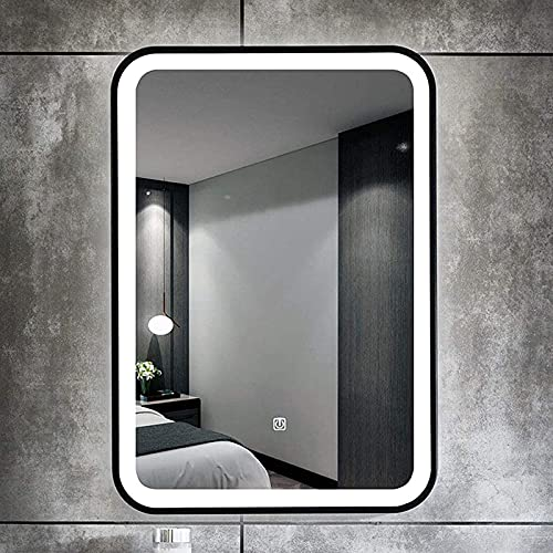 ZLRE Espejo de baño LED Iluminado de Pared con antivaho, función de atenuación e Interruptor de Sensor táctil, Espejo de tocador Decorativo,60 * 80cm