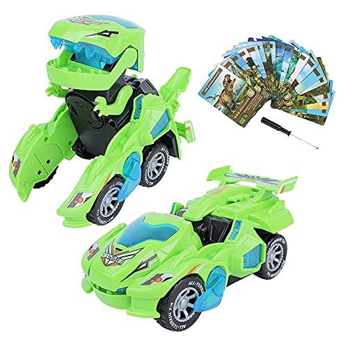 Furado Dinosaurios Transformers Juguete, Dinosaurios Coches Juguete Transformer con Luz Led Y Sonido, Coches Dinosaurios Juguete Transformer para Niños Juguetes para Niños 3 a 10 Años,Verde