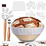 9in Bread Proofing Basket, PATIOPTION 21PCS Professional Banneton Baking Kit Set Round Dough Baking Bowl for Baker Include 1 Proofing Basket 22cm/Cloth Liner/Scoring Lame/Scraper/Whisk/16 Stencils
